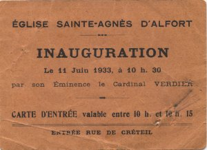 Inauguration Ste Agnès, 11 JUIN 1933, Invitation